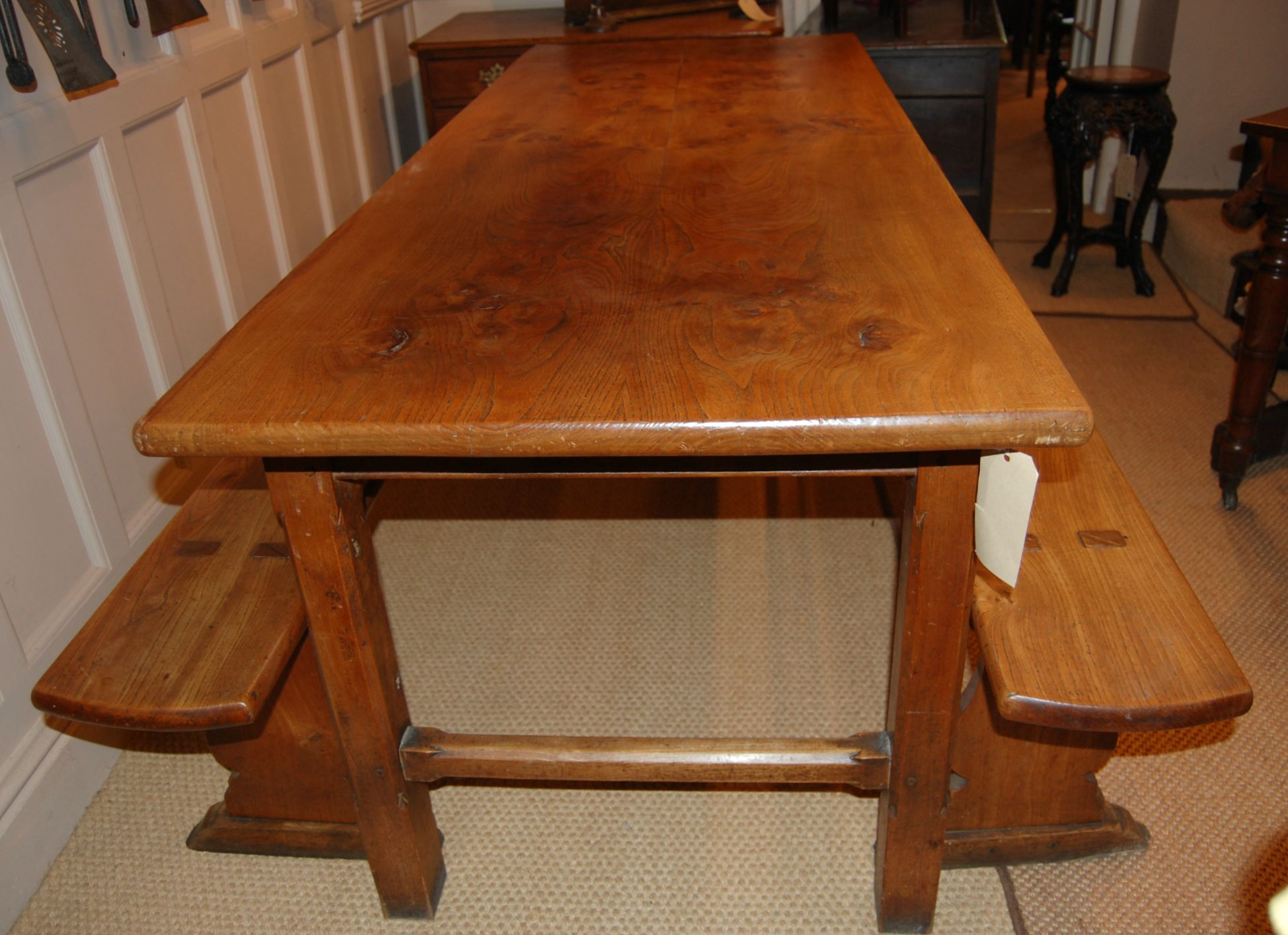 Elm Farmhouse Table and Benches