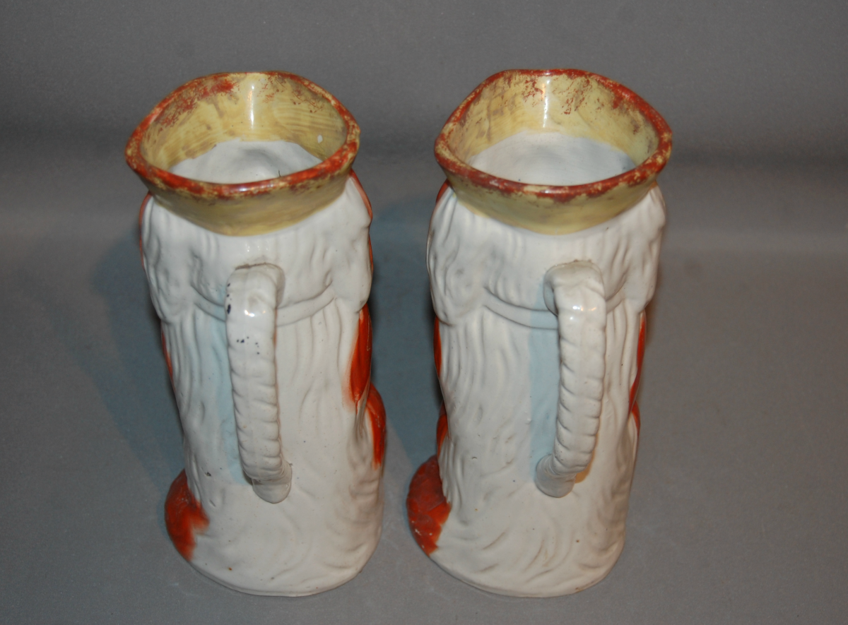 Pair Of C19th Staffordshire Dog Jugs